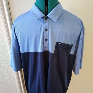 Travis Mathew Mens Two Tone Blue Navy Golf Shirt